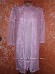 Новый комплект пеньюар и ночная рубашка р. 44