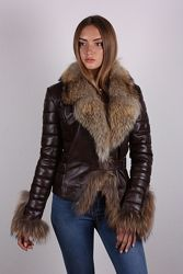 Куртка кожаная с натуральным мехом, двусторонняя, цвета и размеры в наличи
