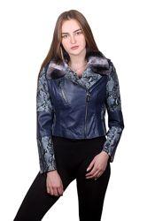Куртка кожаная косуха с натуральным мехом, двусторонняя, цвета и размеры