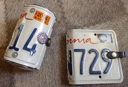 Сумочка и скоросшиватель из автомобильных номеров. Plate Purse handle bags