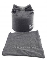 Трикотажные двойные шапочки детские демисезонные с хомутами