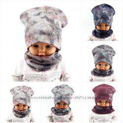Трикотажные шапки с хомутами детские большой выбор