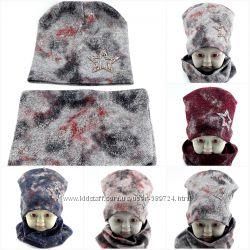 Трикотажные шапки детские большой выбор с шарфиками