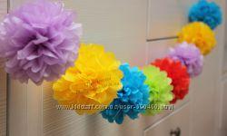 Помпоны из бумаги тишью, цветы, гирлянды