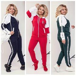Стильные женские костюмы в трёх цветах норма, батал, супер батал