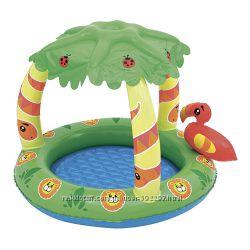 Детский надувной бассейн с навесом Джунгли