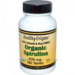 Органічна спіруліна Healthy Origins, 500 мг, 180 таблеток