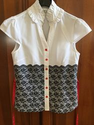Летние белые блузы в офис ассортимент р. XS