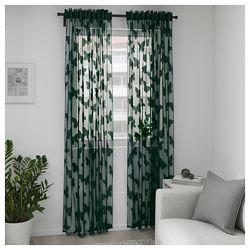 Гардины Ikea NASSELFJARIL зеленые с бабочками