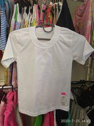 Белые футболки 92,98,104,110,116,122,128,134см.  Состав 100 хлопок