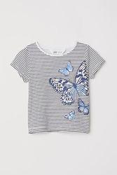 Красивая футболка с бабочкой в полоску h&m 6-8 лет