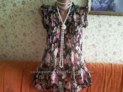 Невесомая блузка-туника из тонкой  шифоновой жатки с розами