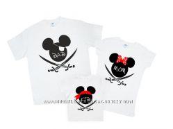 Комплект семейных футболок Микки пираты контур