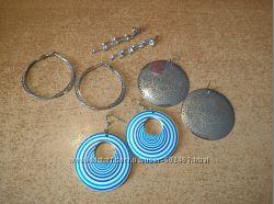 Серьги кольца круглые синие серебристые