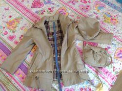 Кожаное пальто, детское 122р