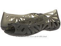 Crocs adrina , черные полупрозрачные  оригинал из США балетки