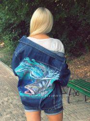 Художественная роспись одежды акрилом. Роспись джинсовок.
