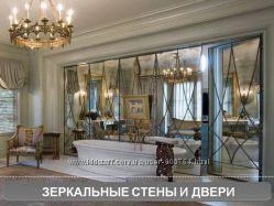 Зеркальная плитка, зеркальное пано, зеркальная стена, колоны