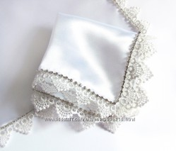 Платок со стразами люкс белый для венчания  свадьбы  крещения