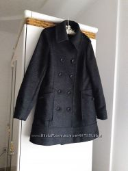 44 р двубортное трапеция пальто шерсть женственное