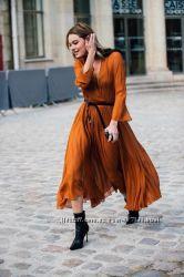 Костюм плиссированная плиссе юбка и блуза с горлом закрытая длинный рукав