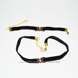 Комплект Бархат чокер и браслет, разные цвета
