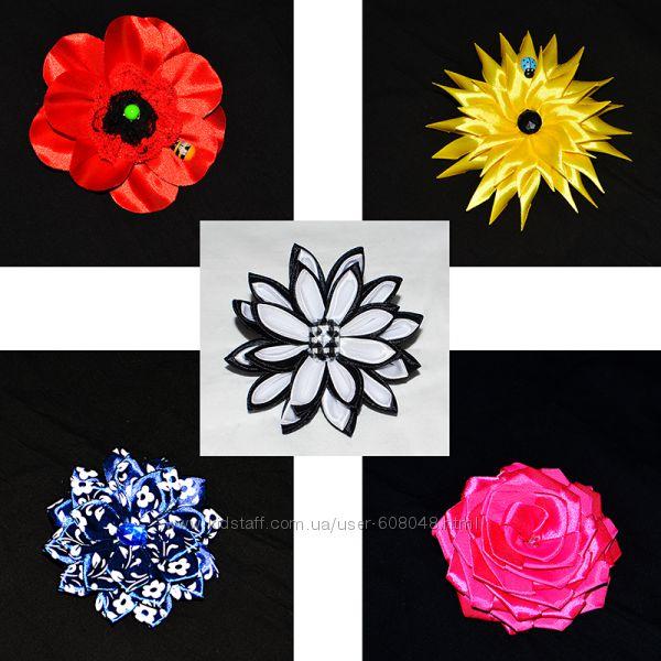 Цветы атласные на заколках или резинках