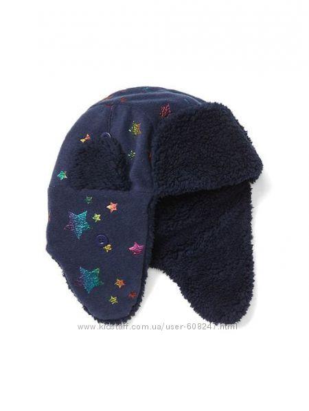 Шапка детская S M 52 53 54 55 GAP теплая флисовая ушанка для девочки
