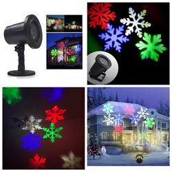 Лазерный проектор уличный комнатный новогодний лазер снежинки