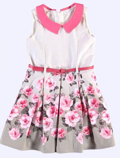 Платье-Цветочный принт/Пояс-122и128см-Нарядные Платья 116-146-LC Waikiki