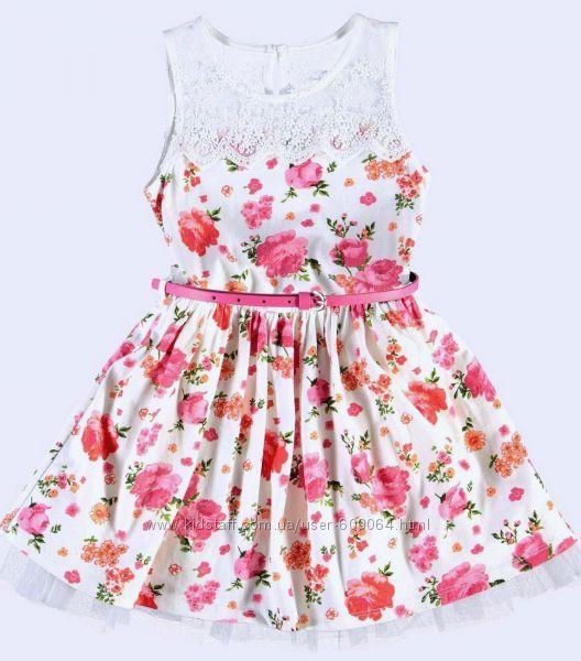 Платье-Цветочный принт/Пояс-116--140- Нарядные Платья 116-146см-LC Waikiki