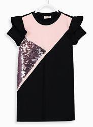Нарядное Платье-Роз. -чер/паетки-122-160-Нарядные Платья 116-146-LC Waikik