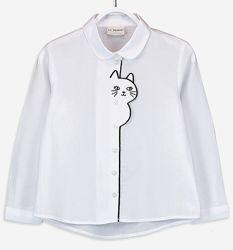 Белая Блузка-Кошечка-122--140см- Школьные Блузки и Рубашки 122--146-Waikiki