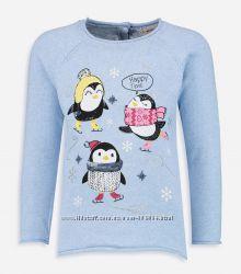 Новогодий Джемпер-Пингвины-122--134-Нарядные Джемпера/рисунки-LC Waikiki