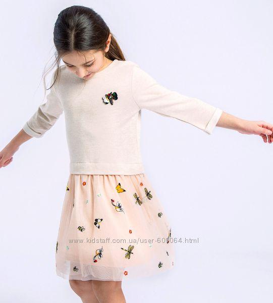 Нарядное Платье с Тюлевой вышитой юбкой-Брошь Стрекоза 110--140 -LC Waikiki