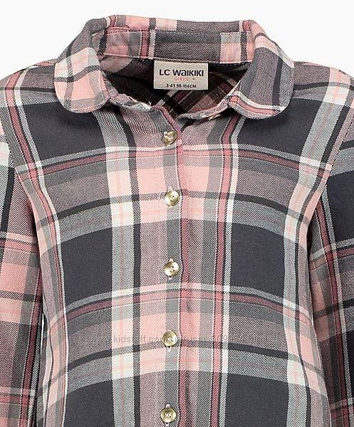 Хлопков. Рубашка-Клетка-122-146-Хлопковые Рубашки Девочкам-122-146см-Waikiki
