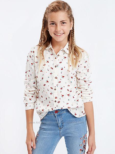 Блузка-Рубашка-Принт-134и140см-Хлопковые Рубашки Девочкам-122-146см-Waikiki
