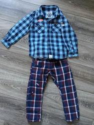 Стильный набор Next в клетку штаны и рубашка 3г
