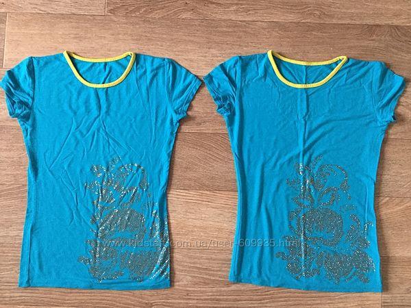 Две красивые футболки с надписью стразами Ukraine на девочку 7-10 л
