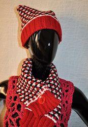 Шапка и шарф красная вязаная