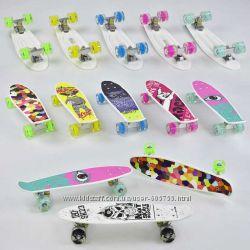 Скейт, пенни борд, Best Board, Penny Board - с рисунком, колёса светятся
