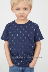 Синяя футболка h&m якоря на мальчика 8-10 лет