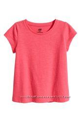 Коралловая футболка на девочку 4-6 лет H&M