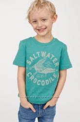 Зеленая футболка на мальчика 4-6 лет H&M