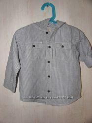 Рубашка лен-хлопок с капюшоном, размер 2Т