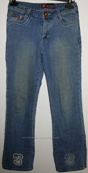 Джинсы капри голубые стрейч Fadina длина 91-80 см
