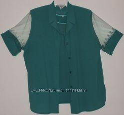 Комплект майка и блузон легкие зеленые - р. 56-58