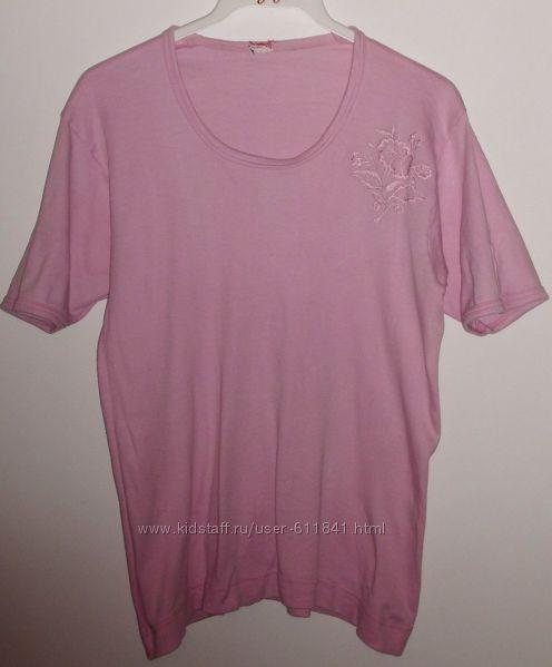 Футболка розовая хлопок - р. 48-50
