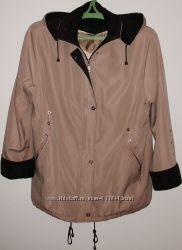 Куртка ветровка бежевая с капюшоном - р. 56-58 ОГ 128 см