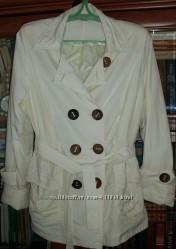 Куртка пиджак, ветровка белая тонкая под пояс 52-54 ПОГ 57 см